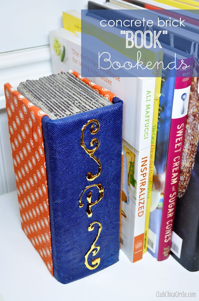 """Concrete Brick """"Book"""" Bookends DIY 