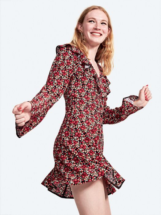 859ea86008a Nobody's Child Red Bella Floral Frill Button Front Long Sleeve Mini Dress