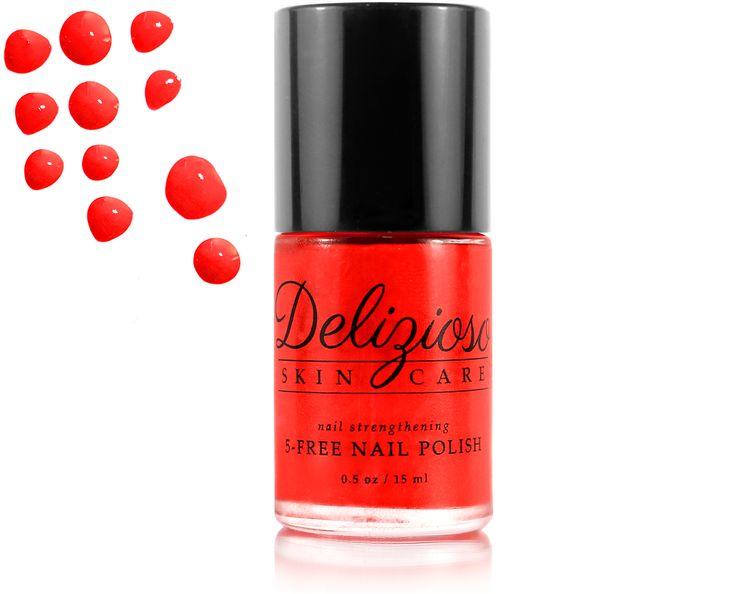 Delizioso Skincare Inc. - Red Carpet 5-Free Nail Strengthening Nail Polish, $11.95 (http://www.deliziososkincare.com/red-carpet-5-free-nail-strengthening-nail-polish/)