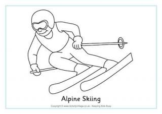 Alpine Skiing Colouring Page.  Winter Olympic coloring pages and activities