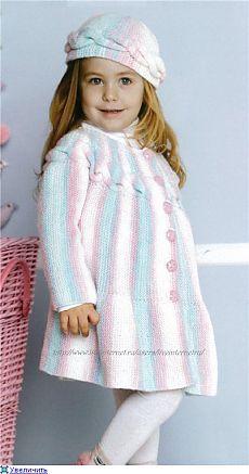 Пальто и берет для девочки. На 2-4 года..