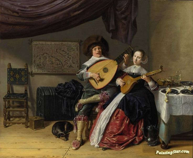 The duet Artwork by Jan Miense Molenaer Hand-painted and Art Prints on canvas for sale,you can custom the size and frame