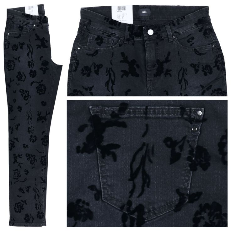 #Damen MAC Melanie Jeans dark blue flowers, 04059347144492