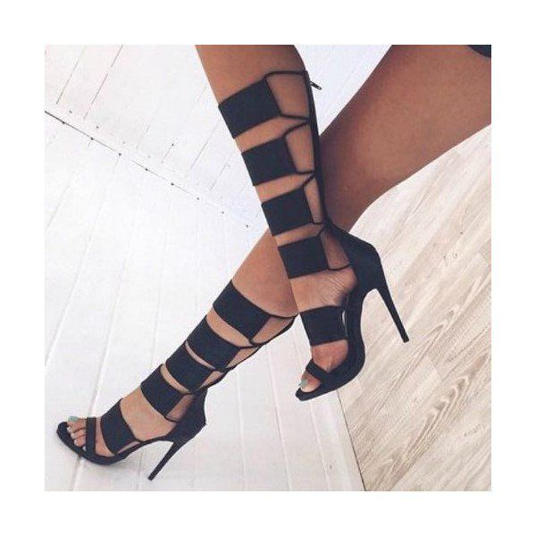 Black Stiletto Heels Strappy Knee High Gladiator Sandals image 2
