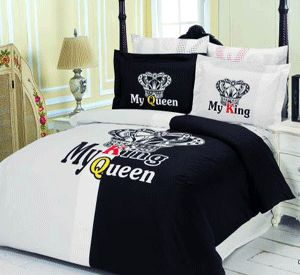 bedroom decor ideas, bedding fabrics with heart designs, black and white comforter and pillows
