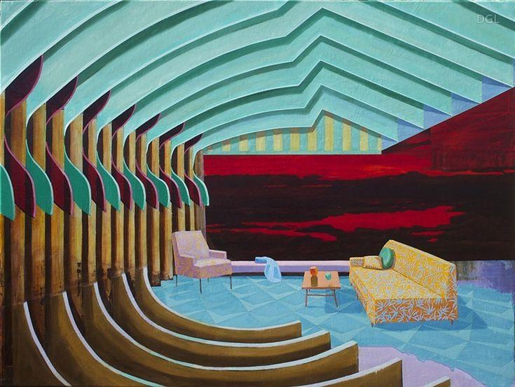 Ribbed Room, David Ledger, 2014, oil on linen, 90x120cm