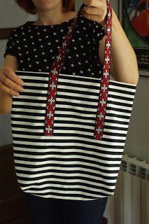 startowa: stripe tote bag