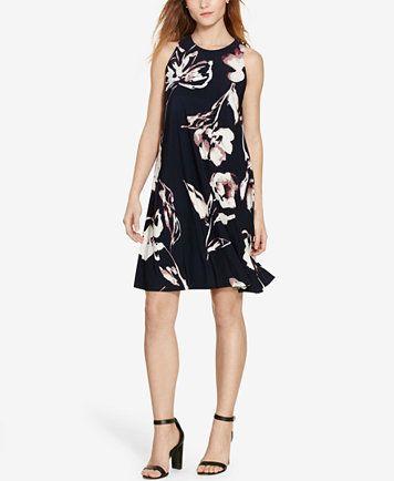 Lauren Ralph Lauren Floral-Print Trapeze Dress | macys.com