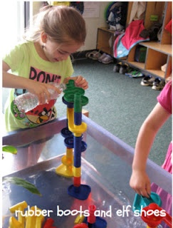 rubber boots and elf shoes: marble works + water table = funSensory Table, Marbles Sets, Ideas, Wooden Marbles, Work Water, Water Tables, Marbles Work, Elf Shoes, Fun
