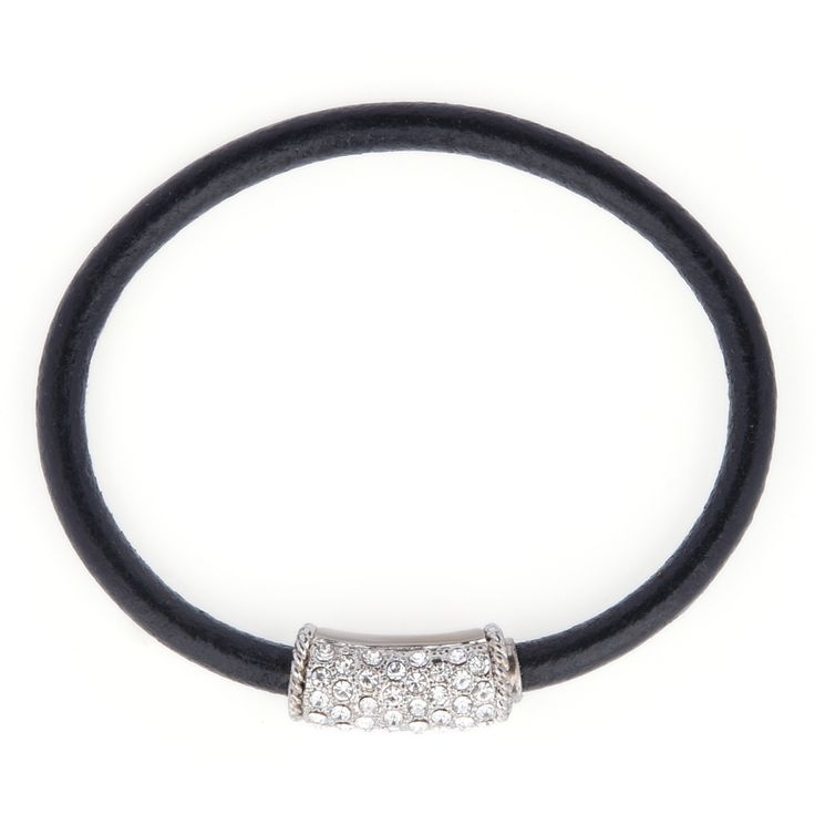 Genuine Leather with crystal rhinestones, hidden magnetic clasp. Easy to wear.