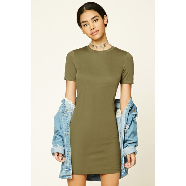 Forever21 Ribbed Knit Bodycon Dress ($10) ❤ liked on Polyvore featuring dresses, olive, short sleeve bodycon dress, round neck dress, short-sleeve maxi dresses, brown bodycon dress and ribbed knit bodycon dress