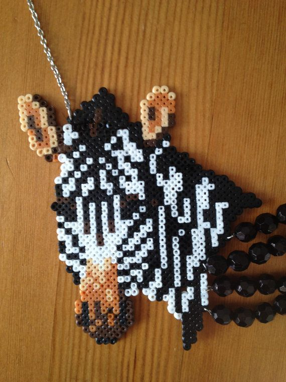 Animals, animales, wild, salvaje Zebra necklace perler beads, hama beads, bead sprites, nabbi fuse melty beads by Jannieel