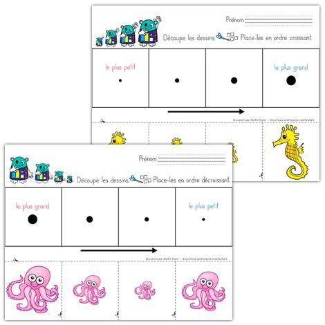 Fichiers PDF téléchargeables En couleurs et en noir et blanc Niveau préscolaire 2 pages  Activité pour enseigner l'ordre croissant et l'ordre décroissant.