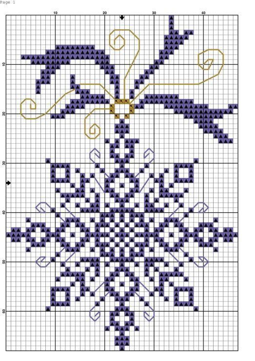 Snowflake cross stitch christmas ornament pattern