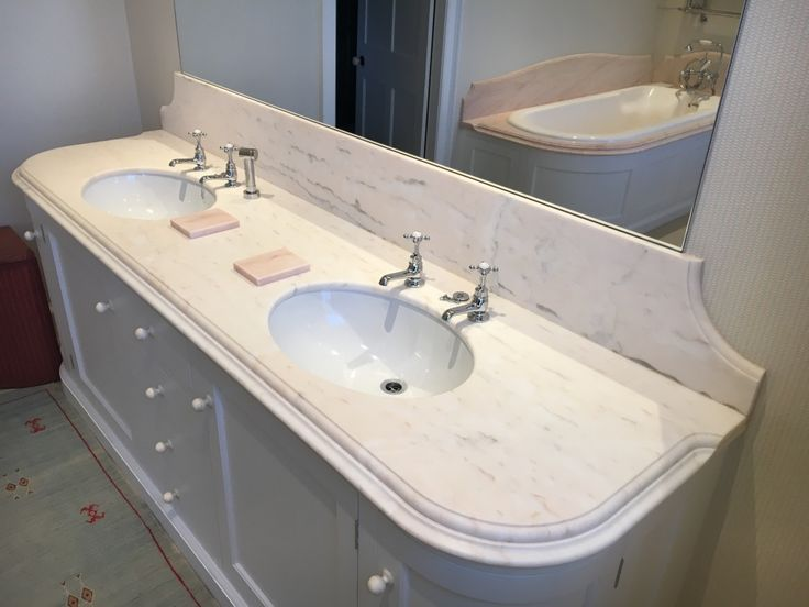 Double marble vanity top in Rosa Portugale light with Belgravia Edge