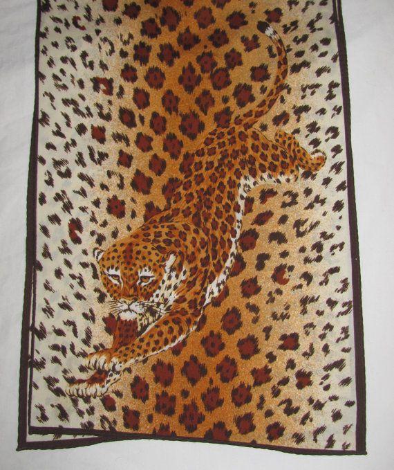 Cheetah rectangulaire Vintage Scarf - gros chat, Animal Print - longue écharpe…