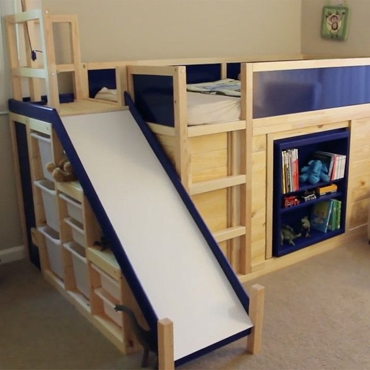 "You're About to Be Blown Away by This Dad's Ikea Hack: To lure his son out of his outgrown convertible toddler bed and into a big-kid bed, Eric Strong went to work in creating the ""most awesome bed ever."""