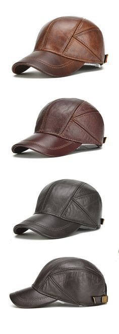 US$19.58 (48% OFF) New Mens Winter Genuine Leather Baseball Caps With Ear Flaps / Outdoor Warm Trucker Hats