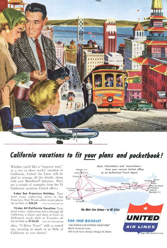 San Francisco Theme Vintage United Airlines Ad 1950's
