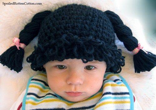 Black Cabbage Patch Kid Inspired Crochet Wig Size 0-3mo | spoiledrottencotton - Crochet on ArtFire