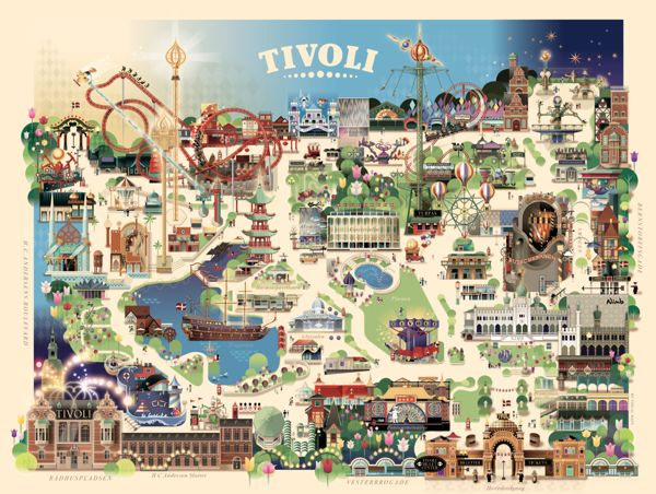 Tivoli Gardens Copenhagen - Summer 2013 by Mads Berg, via Behance Amazing poster for a wall...