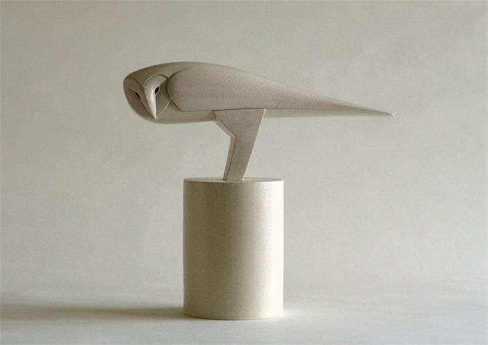 Anthony Theakston 'Sideways Barn Owl' on ceramic base