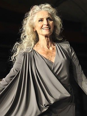 """Aging gracefully - British Daphe Selfe is 83 yrs. old and the world's oldest supermodel. She began her career in 1950, has never had any cosmetic surgery, has no rigid diet, and does modeling for Olay and Nivea. Re: aging she says """"It's going to happen, so why worry? I try to remain cheerful"""" YES!"""