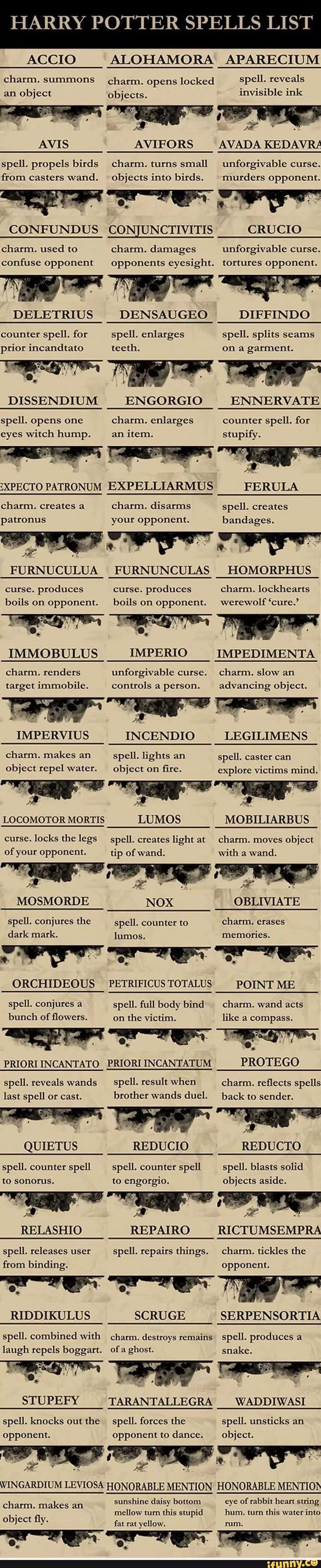 Harry Potter spells