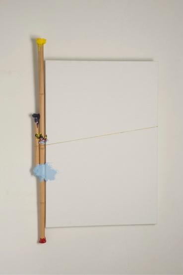 Fuoriquadro 24, 2010  canvas, bamboo, acrylic, brass yarn, cm 158x100