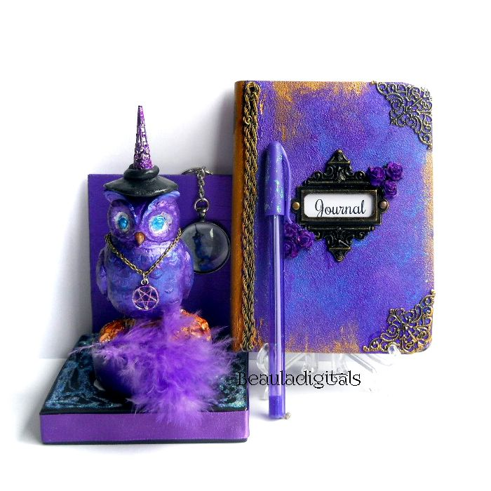 Purple Desktop Owl and Journal /Pen set