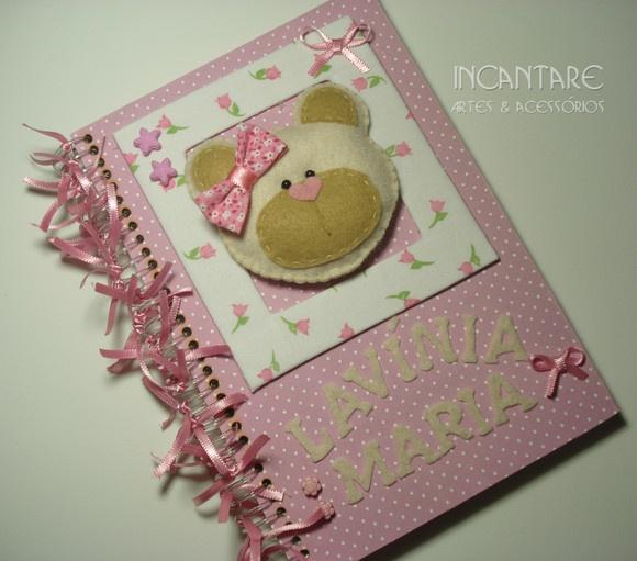 """Caderno de mensagem de boas vindas """"ursinho"""" Pode ser usado para nascimento, aniversário, casamento, etc Personalizamos no modelo e cor de sua preferência.  *PRODUTO ARTESANAL INCANTARE* R$39,90"""