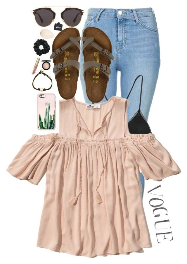 """""""rtd!! comment ootd"""" by lfprep ❤ liked on Polyvore featuring Topshop, Kiki de Montparnasse, Hollister Co., Birkenstock, Casetify, Christian Dior, MAC Cosmetics and Too Faced Cosmetics"""