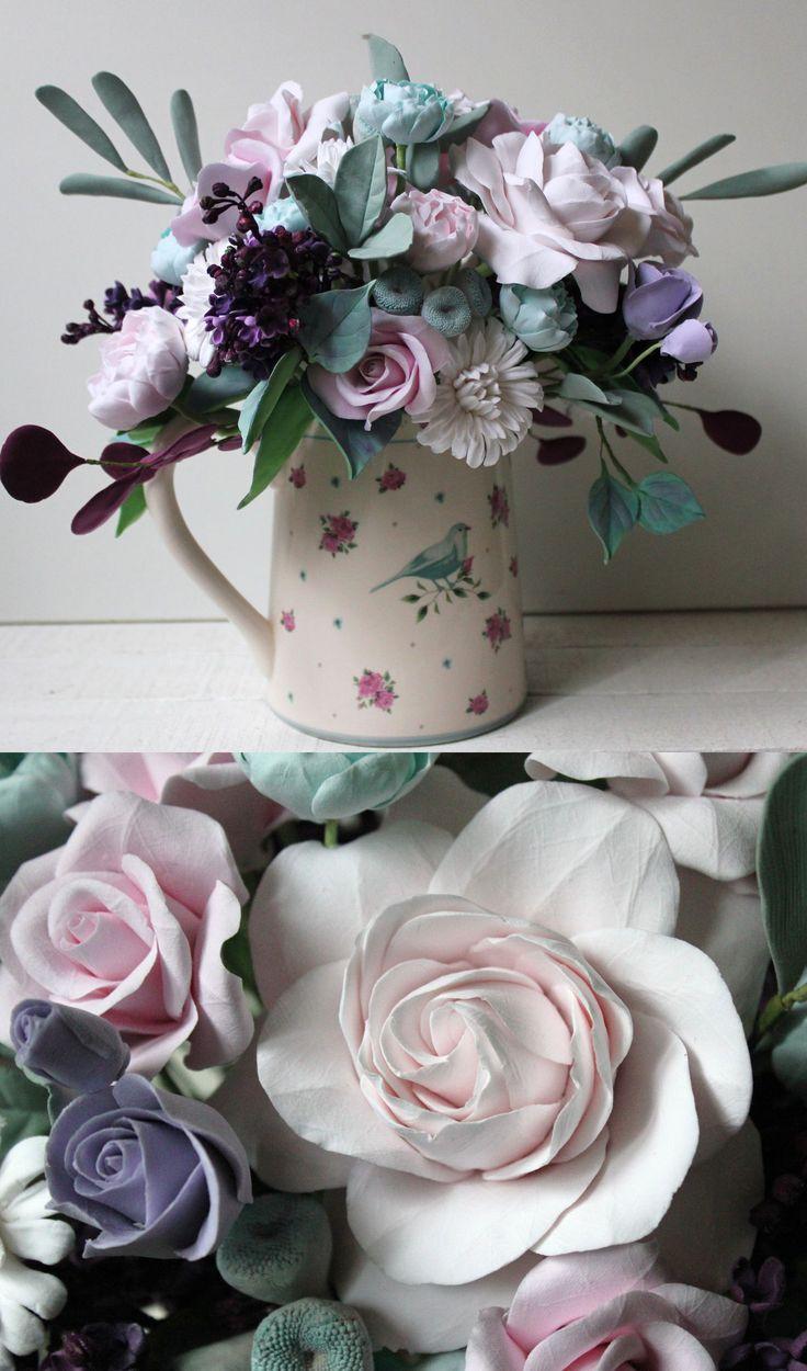 Polymer Clay Flowers | Романтичный букет из полимерной глины «Прованс» — Купить, заказать, букет, цветы, розы, глина, полимерная глина, интерьер, декор, ручная работа