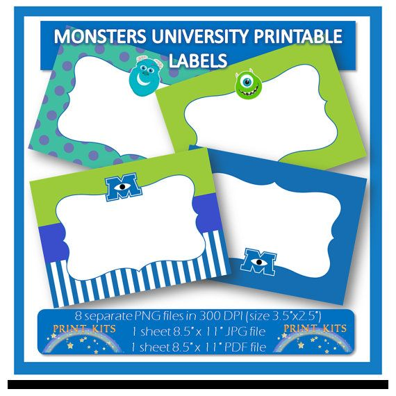 Instant Download, Monsters University Printable Labels or Buffet Cards. Perfect for stickers, tags, thank you notes, party labels, etc.