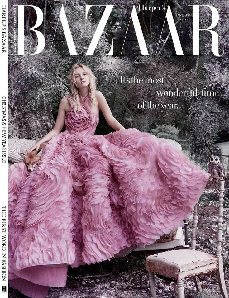 Nastya Sten by Agata Pospieszynska for Harper's Bazaar UK January 2017 Cover -Ralph&Russo