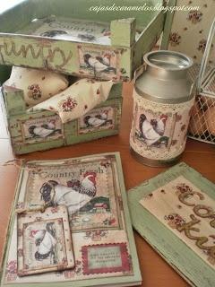 Complementos para cocina rústica con gallinas.... : Cajas de Caramelos