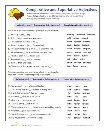 Week 3: Worksheets: Adjectives that Compare