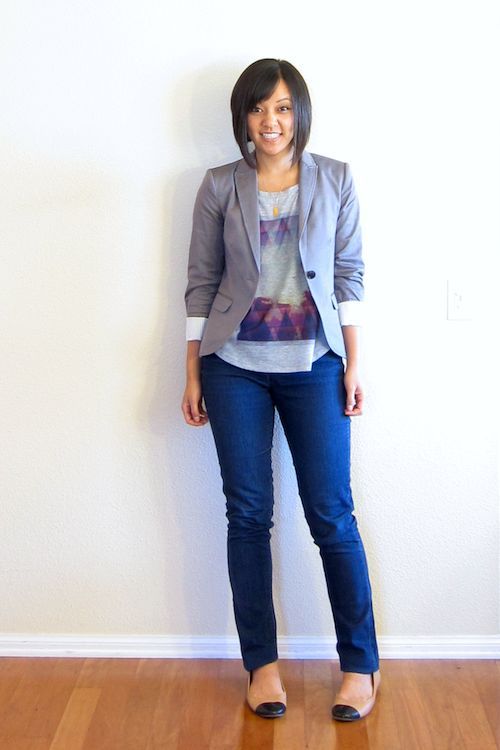 Casual Chic: Target tee,H & M Blazer, NY & Co. Jeans,Old Navy shoes