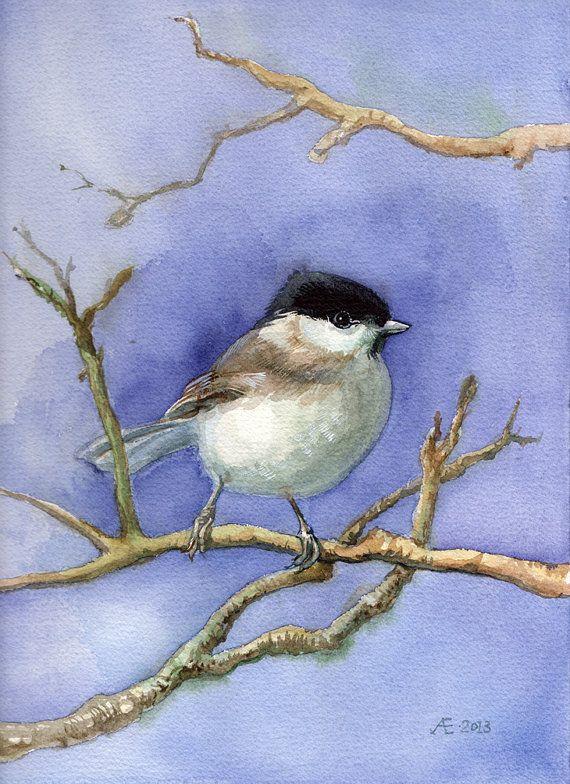 Chickadee живопись изобразительное искусство / отпечатанную на ткани с помощью VerbruggeWatercolor