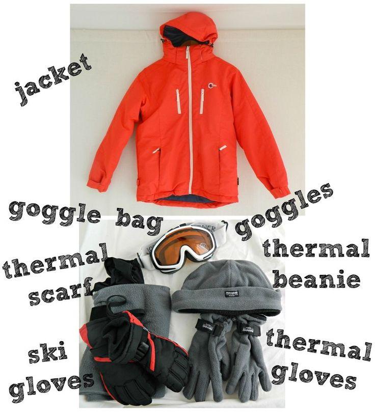 BOYS SKI SNOW GEAR Chute Jacket . Goggles & Gloves . Thermal Scarf Beanie Gloves