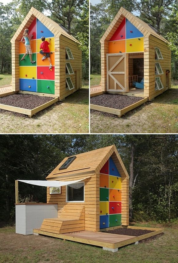 Playhouse for kids filled with tons of little features. climbing wall rock