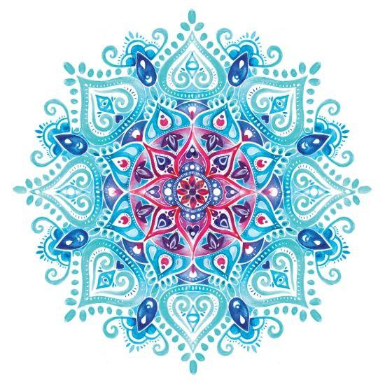 handpainted watercolor mandala art print - Pictures Print