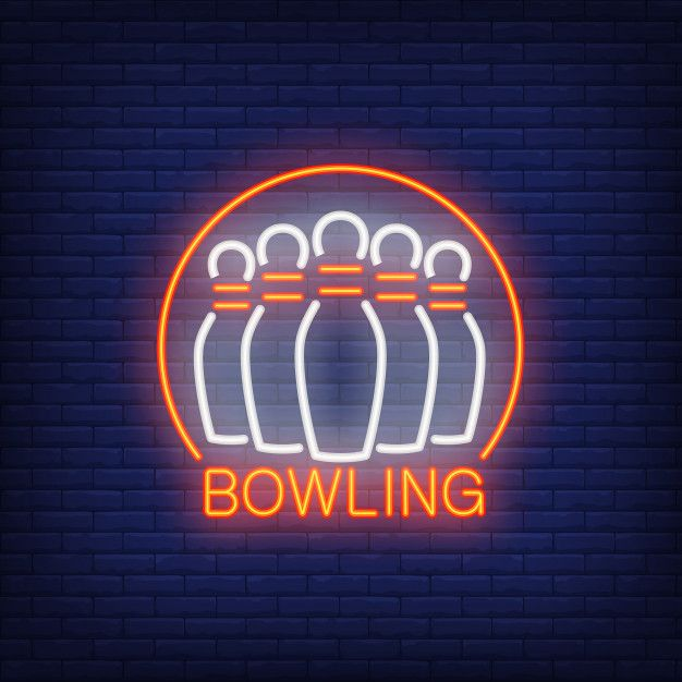 Download Bowling Neon Sign With Skittles And Round Frame Night Bright Advertisement For Free In 2020 Neon Signs Neon Bowling