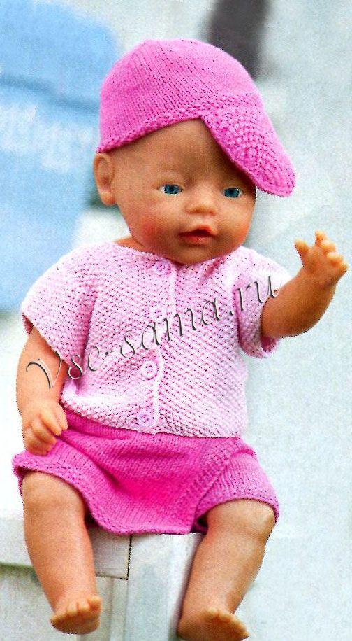 Юбка-шорты, кофточка и кепи для куклы спицами