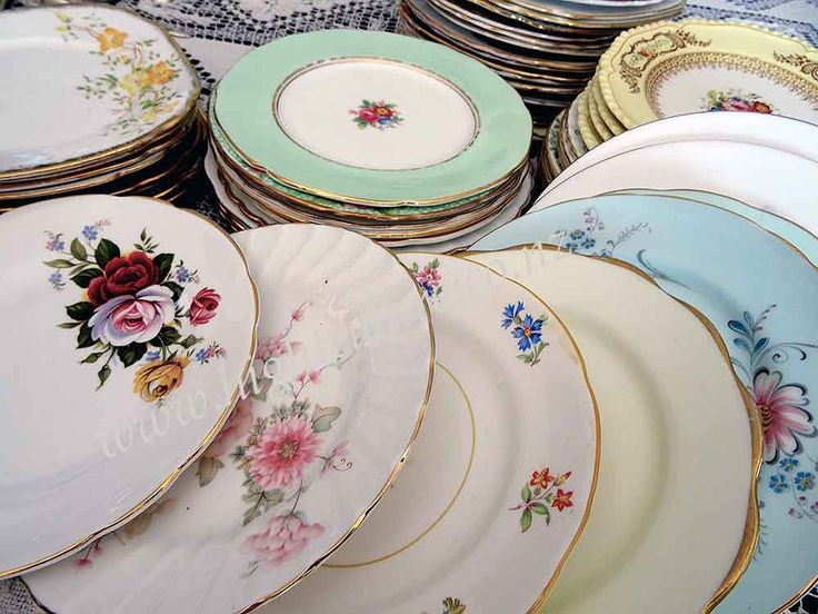 A selection of fine English bone china side plates for hire from High Tea Hire Napier NZ