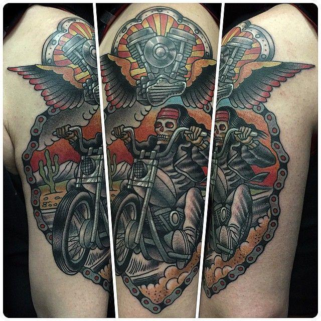 50 fearless biker tattoos http tattoo bikertattoo tattoo journal. Black Bedroom Furniture Sets. Home Design Ideas