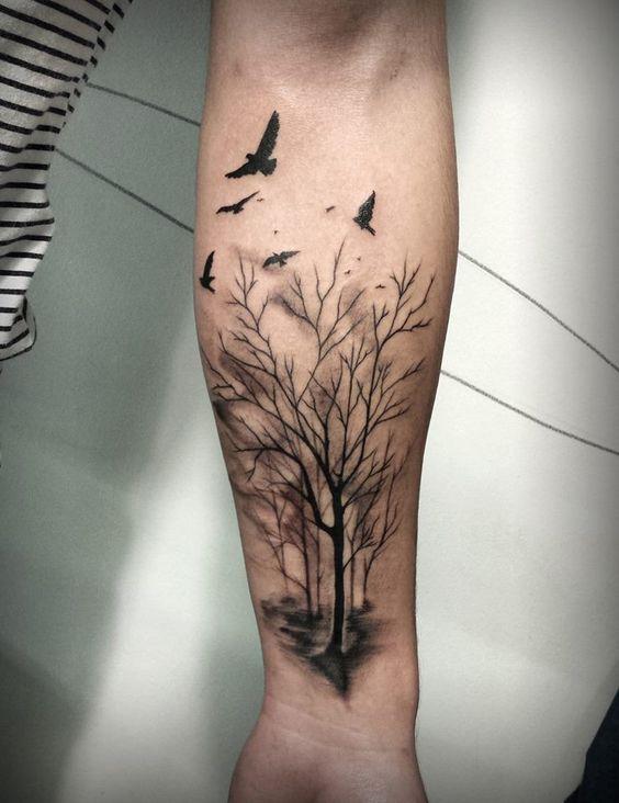 Tatuajes De árboles Y Bosques 256 Fotos 1 Black And Grey