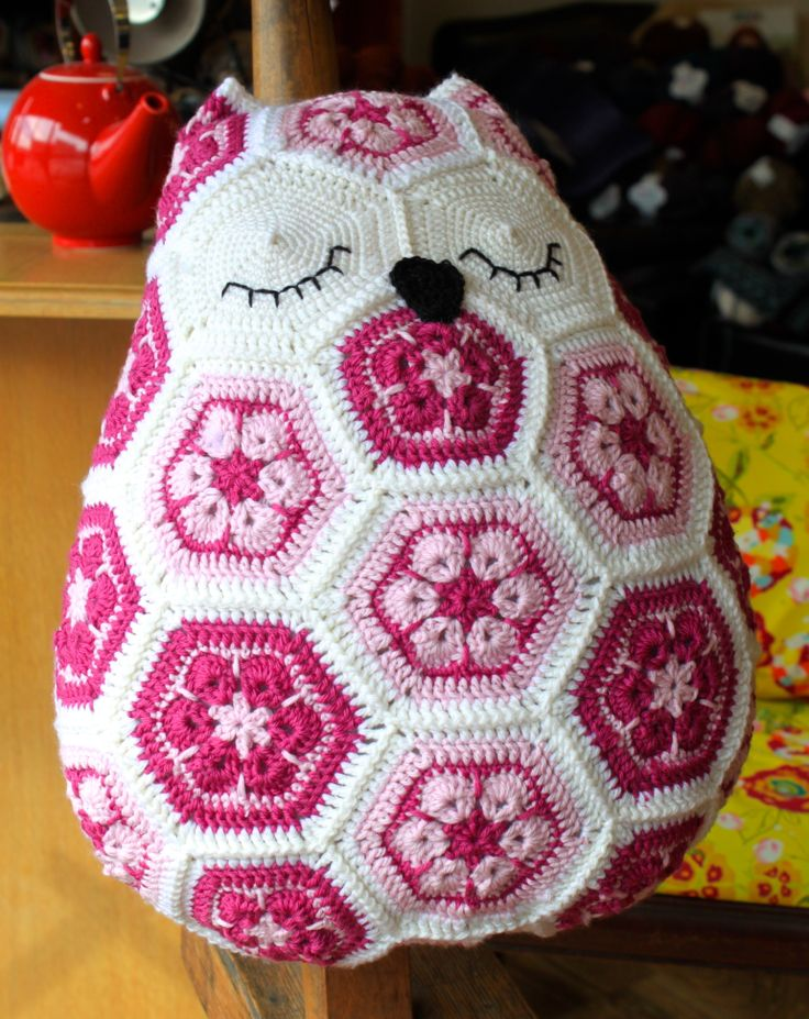 Olga the Owl Pillow  Pattern by JOs Crocheteria Hand crocheted by Mindy Abodeely  Twill Fabric & Yarn Nashua, NH  www.twillnh.com