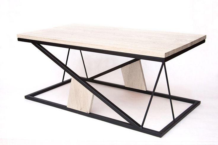 Stolik kawowy bielony SNEDA II / Industrial table - WoodenLand - Stoliki kawowe