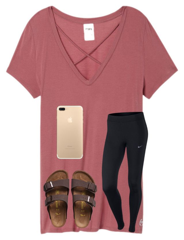 """B"" by bbp-preppy ❤ liked on Polyvore featuring Victoria's Secret, NIKE and Birkenstock"
